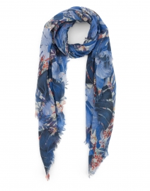 Blue Leaf Printed Wool and Silk Scarf