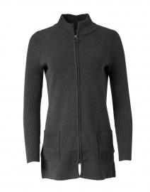 Charcoal Viscose Knit Zip Jacket with Ribbed Sleeves