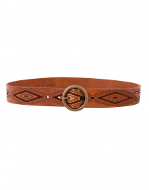 Cognac Diamond Eye Motif Leather Belt