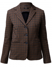 Caracas Brown Houndstooth Print Cotton Blazer