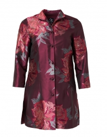 Rita Red Metallic Floral Silk Jacket