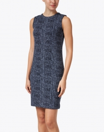 Amina Rubinacci - Diametro Navy and Blue Check Knit Dress