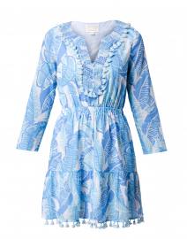 Pale Blue Palm Printed Cotton Voile Dress