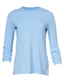 E.L.I. - Sky Blue Pima Cotton Ruched Sleeve Tee