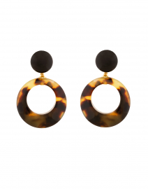 Ischia Tortoise Resin Drop Hoop Earrings