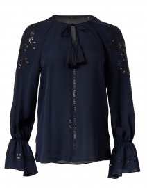 Sarah Navy Silk Georgette Blouse