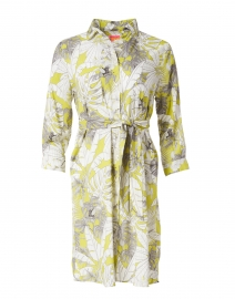 Dover Lime Green Palm Printed Lurex Cotton Shirt Dress