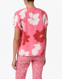 Piazza Sempione - Pink Watercolor Floral Stretch Cotton Top