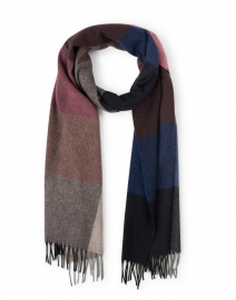 Navy and Pink Plaid Cashmere Scarf