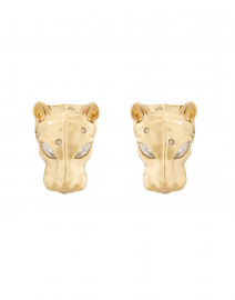 Gold Panther Head Stud Earrings