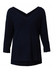 Navy V-Neck Cashmere Sweater