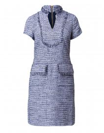 Navy and Cream Tweed V-Neck Dress