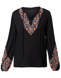 Cory Black Embroidered Silk Blouse