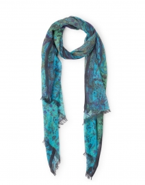 Turquoise and Green Paisley Silk Cashmere Scarf
