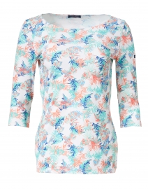 Garde Cote Blue and Pink Floral Printed Jersey Top