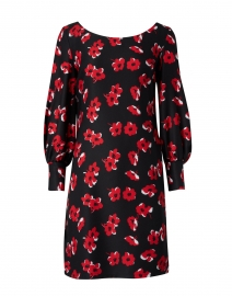 Mateo Red and Black Floral Printed Dress
