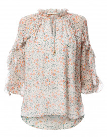 Cardinale Ivory and Blush Floral Silk Blouse