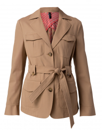 Clay Beige Belted Cotton Jacket