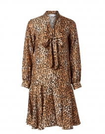 Brown and Black Animal Print Silk Dress