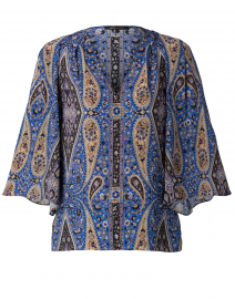 Jeneva Blue and Black Paisley Print Silk Blouse