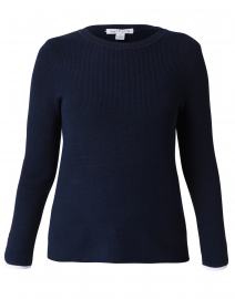 Eclipse Navy Cotton Sweater with White Trim