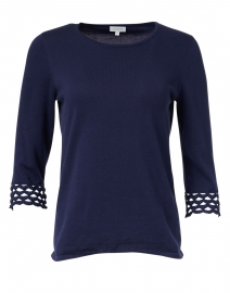 Navy Pima Cotton Crochet Cuff Top