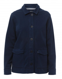 Delphine Navy Stretch Cotton Barn Jacket