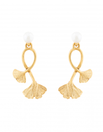 Gold and Pearl Ginkgo Drop Earring