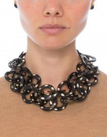 Nest - Gold Spotted Black Horn Link Necklace