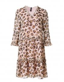 Beige Leopard Printed Chiffon Dress
