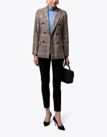 Seventy - Brown and Beige Plaid Stretch Wool Blazer