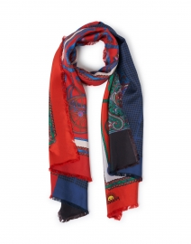 Maggiorelo Multicolor Chain Link Print Silk Double Face Scarf