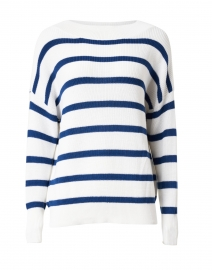 White and Navy Striped Cotton Sweater