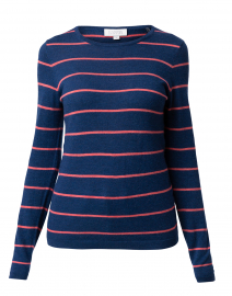 Navy and Coral Striped Cashmere Top