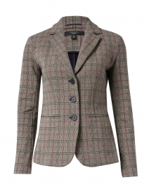 Caracas Plaid Print Cotton Knit Blazer