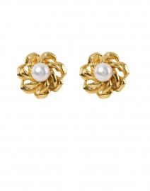 Gold Pearl Center Flower Clip-On Earrings