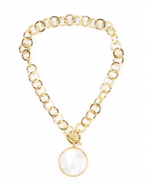 Mother of Pearl and Gold Hammered Chain Necklace