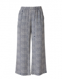 Felix Navy and White Print Silk Pant