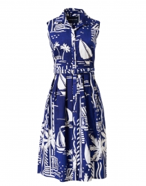 Audrey Admiral Blue Printed Stretch Cotton Dress