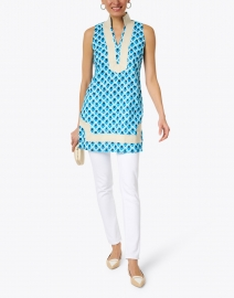 Sail to Sable - Blue Teardrop Print Cotton Tunic Dress