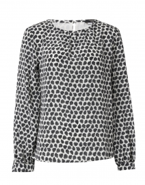 Morina Black and White Floral Print Silk Blouse