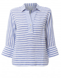Aileen Indigo and White Striped Button Back Linen Shirt
