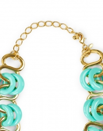 Kenneth Jay Lane - Turquoise and Gold Resin Rings Link Necklace