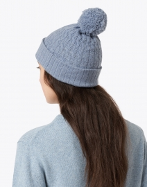 Kinross - Harbor Blue Cable Pompom Cashmere Hat