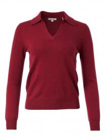 Dark Red Cashmere Polo Sweater