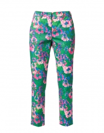 Golden Pink and Multi Floral Print Stretch Cotton Pant