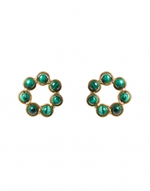 Daisy Green Malachite Circle Stud Earrings