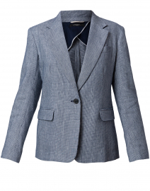 Cobra Navy Plaid Linen and Cotton Blazer