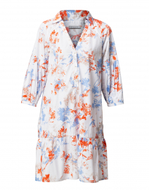 Orange and Blue Floral Cotton Henley Dress