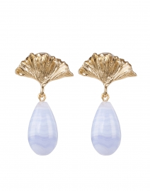 Gingko Light Blue and Gold Drop Earrings